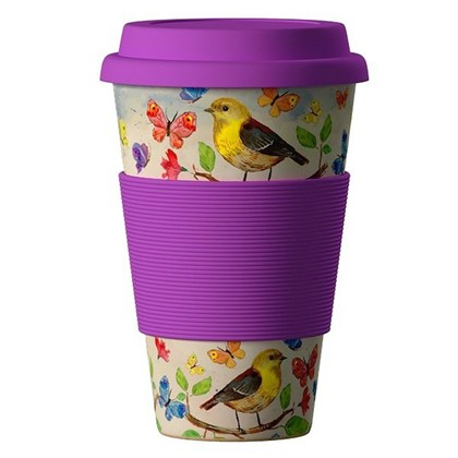 Termohrnek Bamboo Cup 400ml Birds